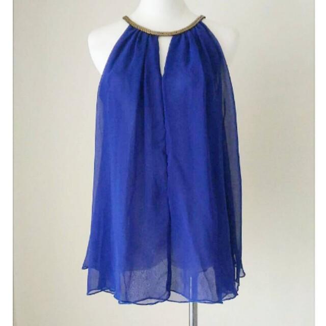 雪紡v開口無袖雪紡上衣 藍
