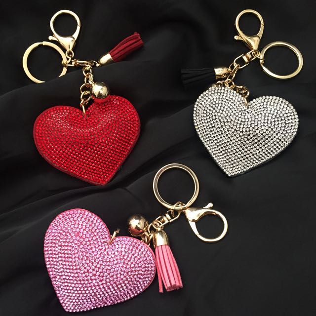 Valentine's Day glittering heart shaped key chain with tassle