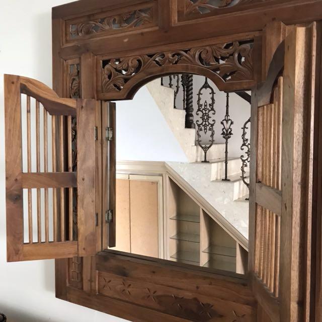 Vintage Hand Carved Balinese Indonesian Teak Window Mirror ...