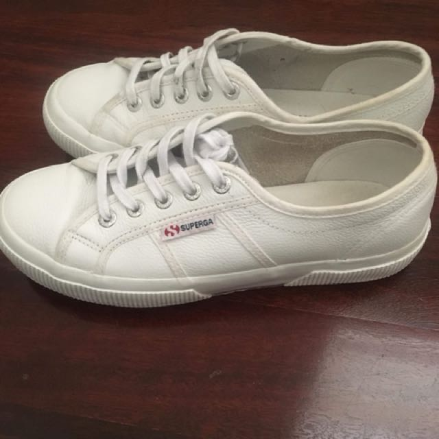 White sneakers super gas real leather