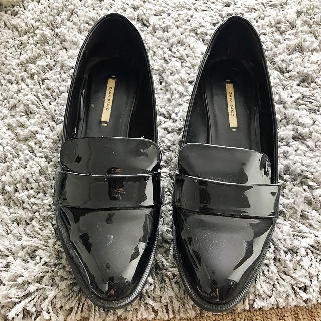 Zara Basic Black Patent Loafers