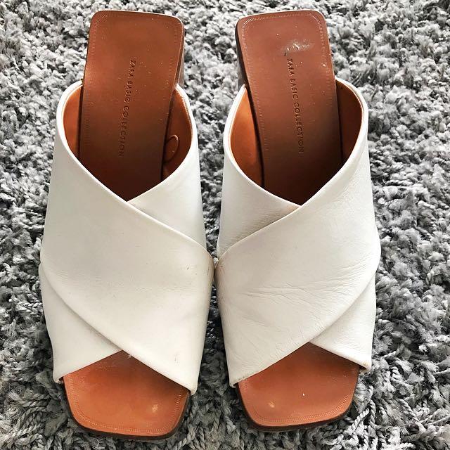 Zara Basic Collection Brown x White Slides