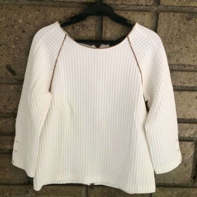 ZARA White 3/4 Top