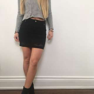 Mink pink black Jean high waisted skirt