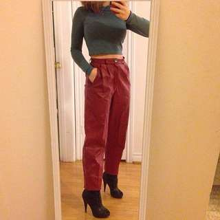 😻Chic high waisted vintage leather pants