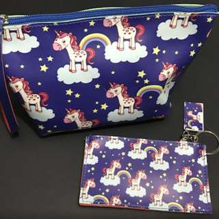 Pouch & Coin Purse Set - Unicorns & Rainbows Prints  Color: Midnight Blue #unicorn