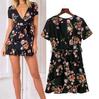 BN FLORAL RUFFLE FRONT DRESS