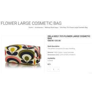英國 Orla kiely 70s flower cosmetic bag ( 原價 €36 )