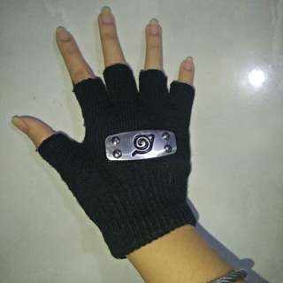 REPRICED! Naruto Hand gloves/protector with metal logo.