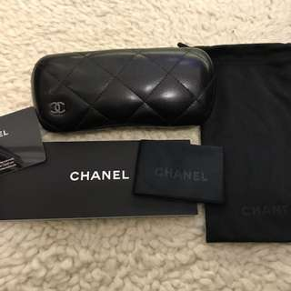 CHANEL sunglasses case with cloth, warranty book, card, and cloth pouch