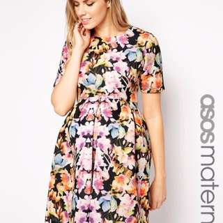 ASOS MATERNITY FLORAL SKATER DRESS SIZE 4