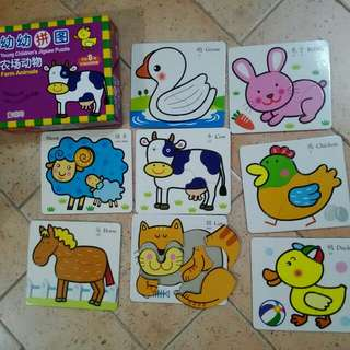 Young Children's Jigsaw Puzzle (Bilingual) - Farm Animals