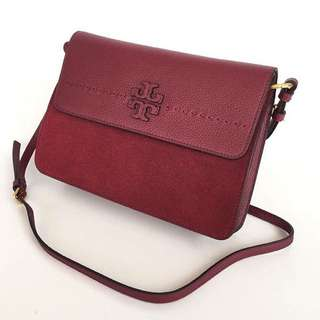 TORY BURCH McGraw Mixed Suede Shoulder Bag