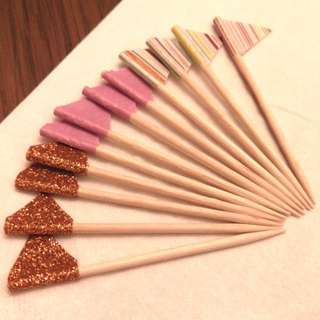 Cake topper, toothpick, cupcake flags, cake decoration, appetiser picks, pink purple copper rainbow