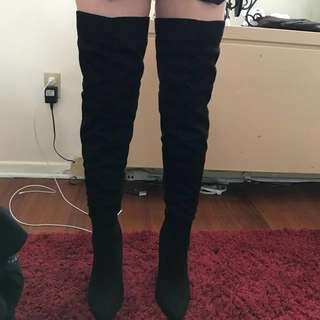 Over The Knee Black Boots From Fashion Nova