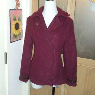 棗紅色厚絨雙扣鈕型格外套