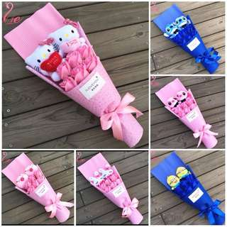 Lovely 2 Plushies with 6 Roses Bouquet