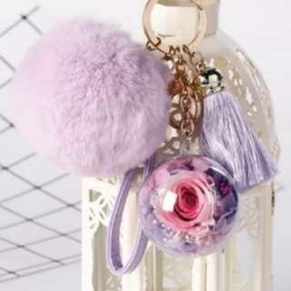 Valentine's Preserved Rose & Flowers Bag Charm