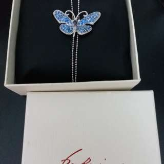 "pretty ""SWAROVSKI"" crystal butterfly silver necklace"