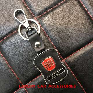 FIAT METAL CAR LOGO LEATHER KEYCHAIN KEYRING KEY CHAIN RINGS