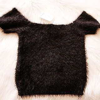 Room Service Off The Shoulder Fuzzy Crop Shirt