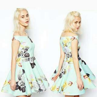 Air Cotton Floral Offshoulder Dress