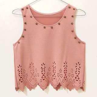 Nude Pink Studded Crop Top
