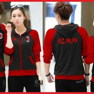 aket COUPLE AC MILAN / Baju Pasangan Klub bola Cewek cowok Warna merah