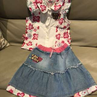 Girls Top & Skirt 4-5yrs old
