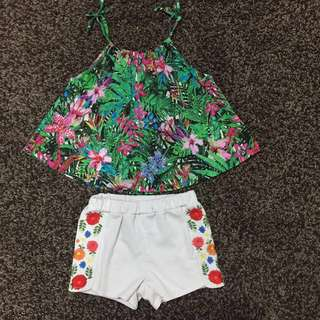 ZARA tropical top + SEED floral shorts