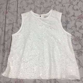 White sequin crop top