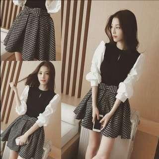 🔥#CNY [INSTOCK] Korean Ulzzang Ruffle Puff Knit Top Bow