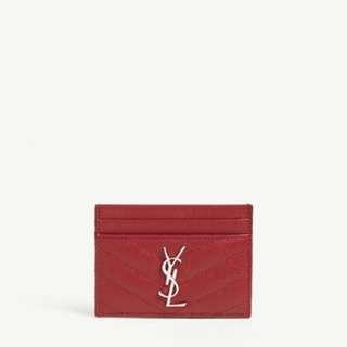 Ysl card holder 紅色 全新 有盒 店賣2150