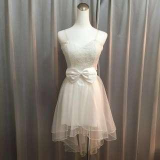 🚚 前短後長設計 露背馬甲 純白婚紗 伴娘 禮服 宴會