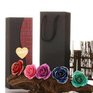 爆款24k鍍金玫瑰花廠家直銷真花鍍金創意七夕情人節母親節禮盒包裝精美恆久