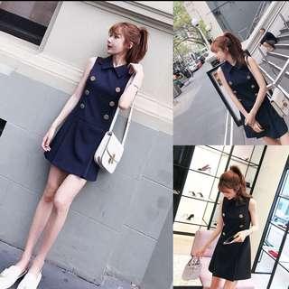 🔥#CNY [INSTOCK] Korean Ulzzang Chic POLO Sleeveless Button Short Collar Button Skirt Dress