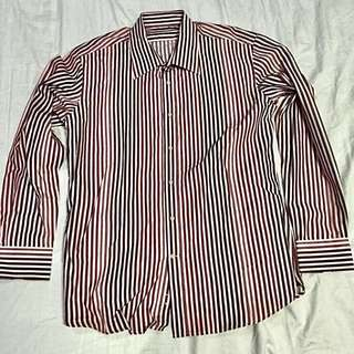Celio Striped Long Sleeve Polo (L)