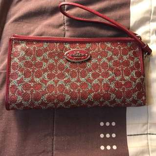 Preloved authentic coach wristlet wallet