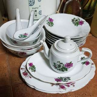Old Dinner Set 17pcs