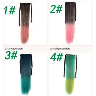 PO ombre dip dye gradient straight ponytail hair extension*waiting time 12days after payment is made *pm to order