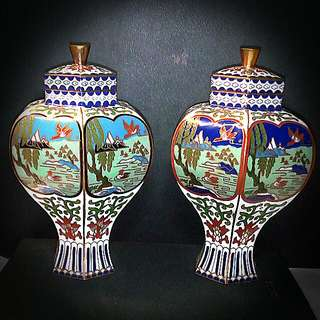 "Rare & Exquisite Hexagonal Lidded Canister. Day & Night Pair. Highly Decorative Handcrafted Enamel And Cooper Ware. 5""."