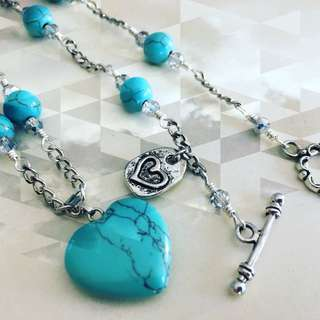 Uniquely Handcrafted, Semi Precious Turquoise Heart Necklace