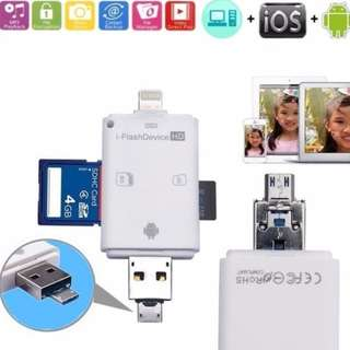 i-Flash Drive Card Reader For iPhone 5 5S 5C 6 6S 7 plus iPad Air/Mini & Android Smart Phones iPhone / iPad / Laptop / PC / Android Latest 2017 Working Firmware Seller Tested – It supports Latest IOS And SD/TF Card Storage up to 64Gb