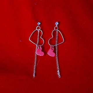 Red Heart Dangly Earrings