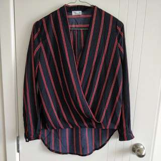 Crossover striped blouse