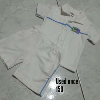 White terno polo & short for baby boy
