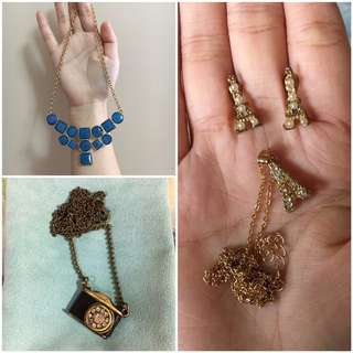 Take All Necklaces and Earrings Eiffel Tower Vintage Camera Blue Geometric Statement Gold