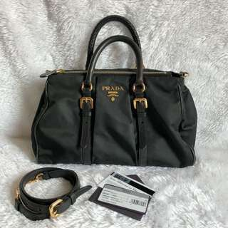 Prada BN1607 Tessuto+Soft Calf leather Nero