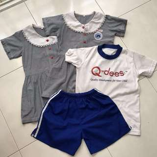 QDees uniforms (size M) & gym attire (size S)