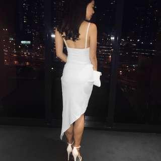 Boohoo White Padded Bodycon Dress